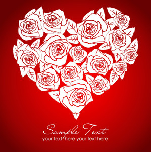 Valentine White Rose Heart On Red Background