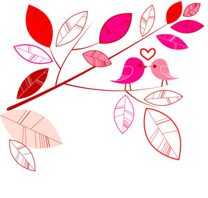 Valentine`s Card With Bird Couple.-