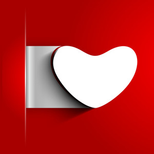 Valentines Day Background With Sticky In Heart Shape On Red Background
