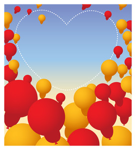 Valentine's Day Balloons Heart Banner
