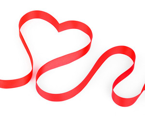 Valentines day card - heart made of ribbon