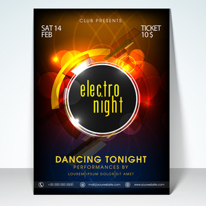Valentines day electro night party flyer banner or template design.