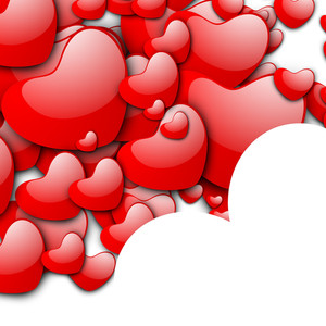 Valentines Day Love Background With Red Hearts On White