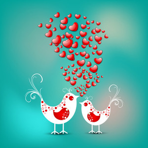 Valentines Day Love     With  Love Birds On Green Background