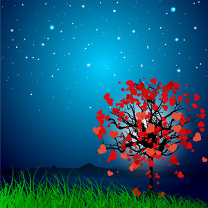 Valentines Day Love     With Love Tree On Grey Background