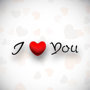 Valentines Day Love     With Text I Love You And Red Heart On Seamless Grey Background