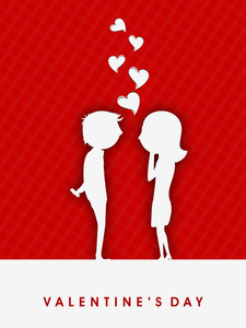 Valentines Day Red      With White Silhouette Of  Love Couples