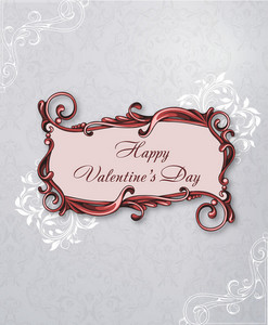 Valentine's Day Vector Illustration With Flowal Frame