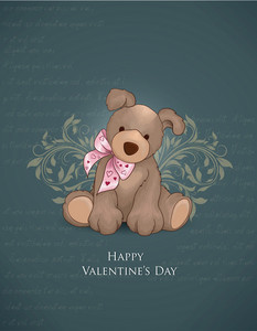 Valentine's Day Vector Illustration With Little Bear