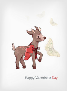 Valentine's Day Vector Illustration With Little Dear