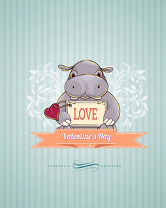 Valentine's Day Vector Illustration With Little Hippo