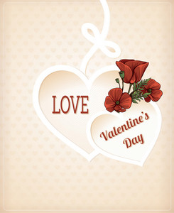 Valentine's Day Vector Illustration With Paper Hart And Spring Flowers