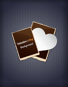 Valentine's Day Vector Illustration With Photo Frames And  Sticker Hart