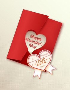 Valentine's Day Vector Illustration With Sticker Hart