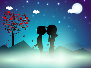 Valentines Day Winter Night Background