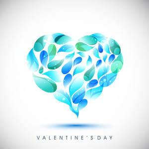 Valentines Day      With Blue And Green Drops On Grey Background