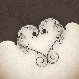 Valentines Day      With Flal Heart Design On Grungy Brown Background
