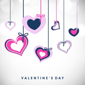 Valentines Day      With Hanging  Hearts With Ribbon On Grey Background