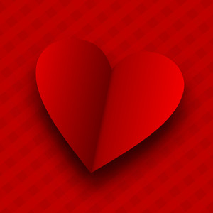 Valentines Day      With Red Heart On Red Abstract Background