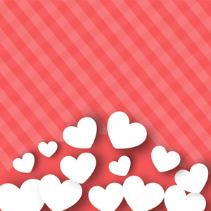 Valentines Day      With White Paper Hearts On Pink Abstract Background