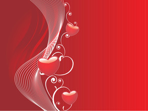 Valentines Heart And Wave Elements In Red