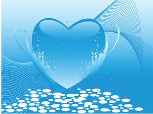 Valentines Heart-shape Blue Banner