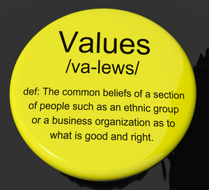 Values Definition Button Showing Principles Virtue And Morality