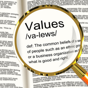 Values Definition Magnifier Showing Principles Virtue And Morality