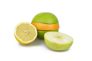 Variety Of Fruit Slices On White Backgrond