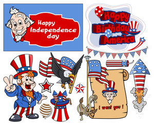 Various 4th Of July Vector Designs Set