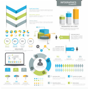 Various business infographics elements including 3D pie chart