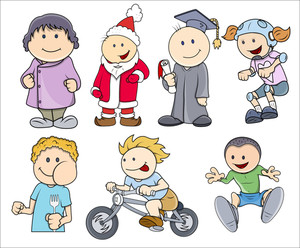 Various Characters Kids Vector Illustration In Cartoon Style