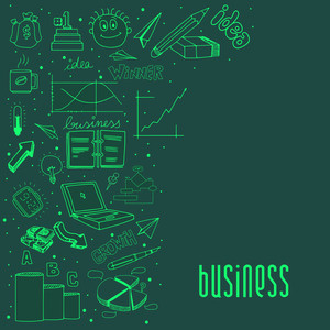 Various collection of business infographic elements on green background.