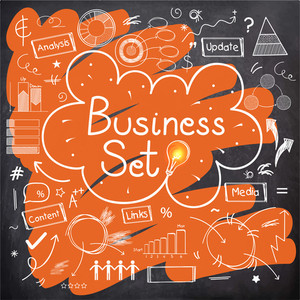 Various collection of Business Infographic elements with illuminated bulb on chalkboard background.