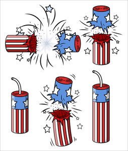 Various Firecrackers 4th Of July Vector Illustration