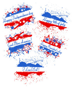 Various Greeting Text Banners  Patriotic Usa Theme Vector