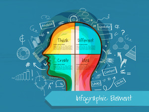 Various infographic elements with colorful illustration of human head for idea concept on blue background.