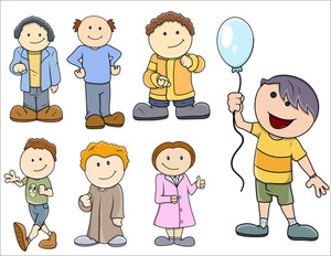 Various Kids Vector Illustration In Cartoon Style