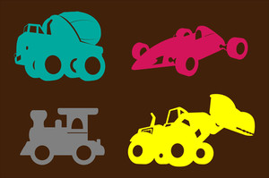 Various Modern Vehicles And Construction Vehicles Shapes