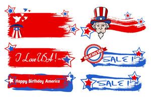 Various Usa Nation Theme Vectors Set