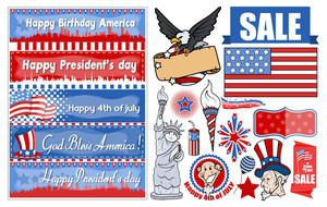 Various Usa Patriotic Designs Vector Set