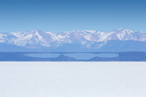 Vast desert and distant, snow-capped mountains