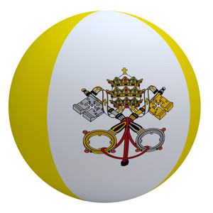 Vatican Flag On The Ball Isolated On White.