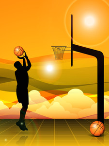 Vctor Silhouette Of Basketball Player And Basket Pillar