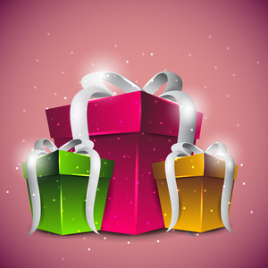 Vecto Colourful Gift Box With White Bow On Vector Background
