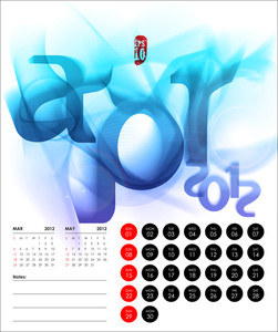 Vector 2012 Calendar Design - April