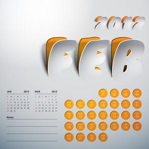 Vector 2012 Calendar Design - February