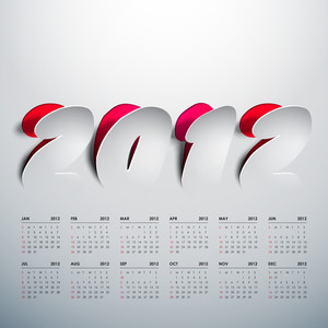 Vector 2012 Calendar Design - Peeled Off Stickers