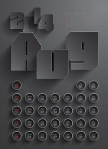 Vector 2014 Calendar Design - Aug