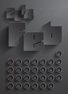 Vector 2014 Calendar Design - February